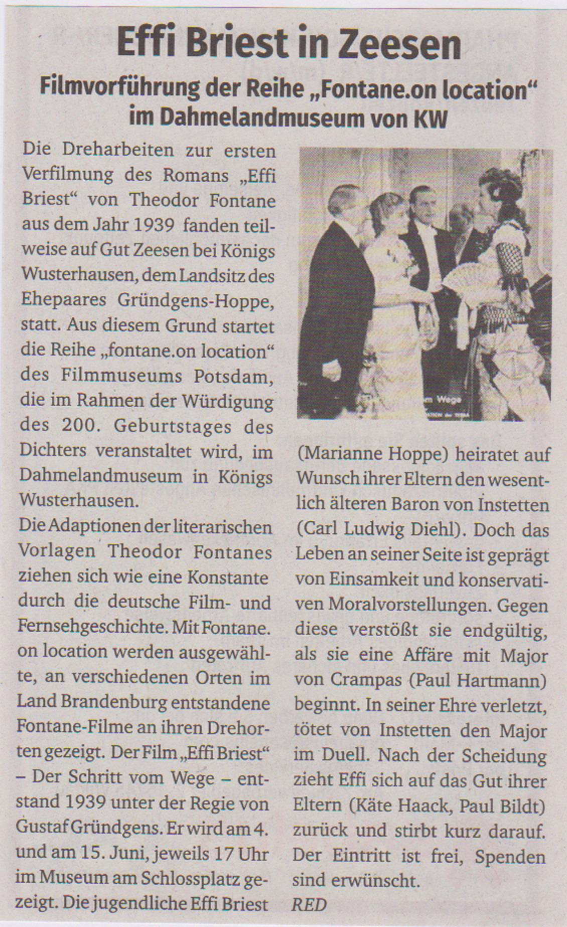 Effi Briest in Zeesen, KAWE-Kurier, 29. Jg., Nr. 22, S. 6 vom 29.05.2019
